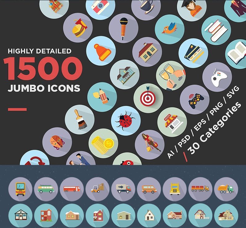 Jumbo Flat Icons Pack Icon Set Template