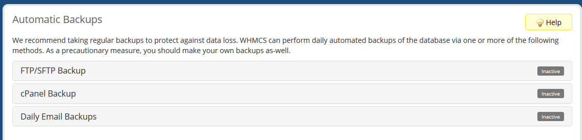 Automated backups in WHMCS