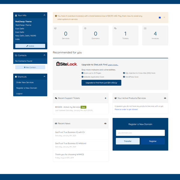 client area dashboard
