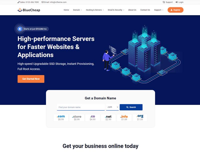 BlueCheap host html template