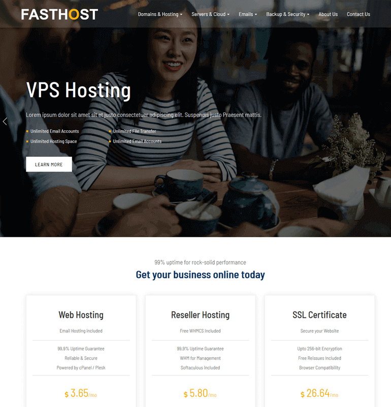 Fasthost whmcs theme