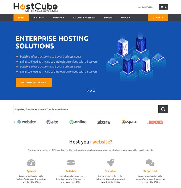 hostcube whmcs theme